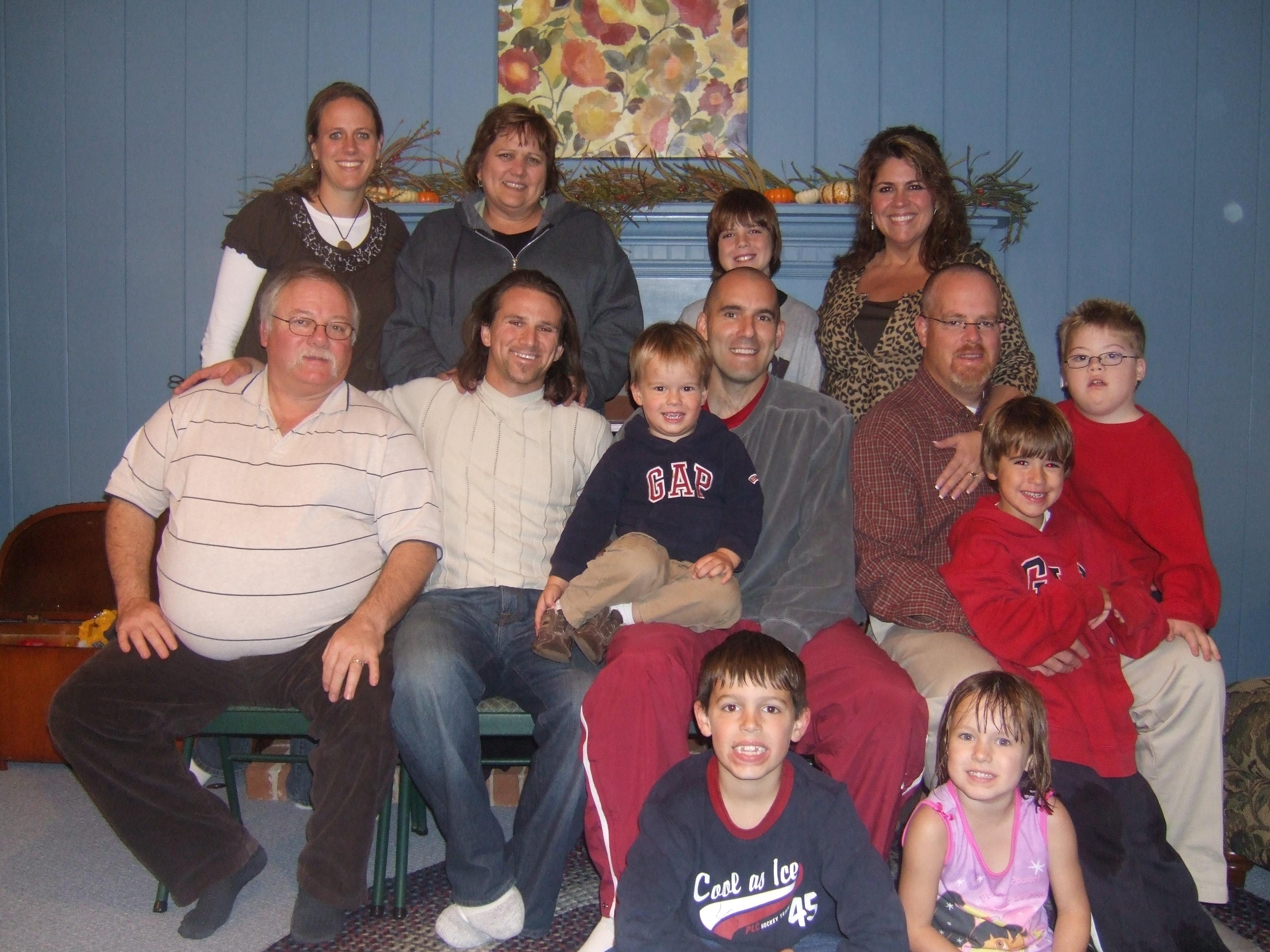 My Parents, Lester's and Uszynski's from Top Amy U, Bonnie (mom), Noah L, Debra L, *David (dad), me, Jack U, Ed U, Jason L, Jonah L, Elijah L, * Eric U, Maria U