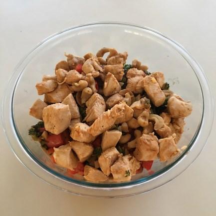Chicken and sautéed veggies in cashew sauce