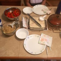 Our spread included carrots, quinoa, chicken in poaching liquid and roasted red peppers.
