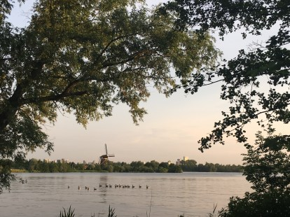 The Hillegersberg windmill, as seen from across the lake.