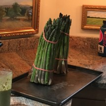 Two very fresh bunches of asparagus.