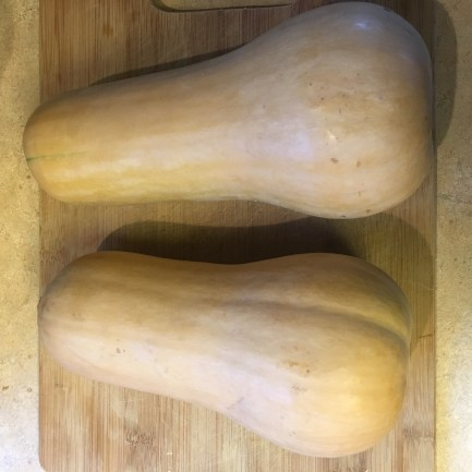 Two medium butternut squash for 1.5 pans of lasagna.