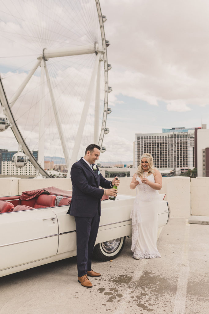 Las Vegas elopement portraits with champagne by Taylor Made Photography