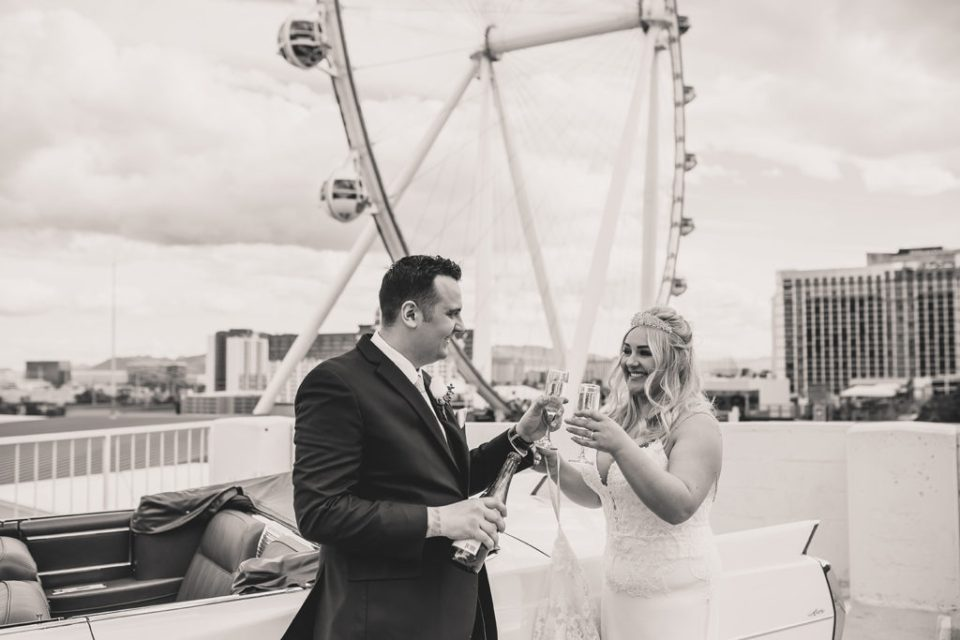 wedding portraits by Las Vegas Observation Wheel by Taylor Made Photography