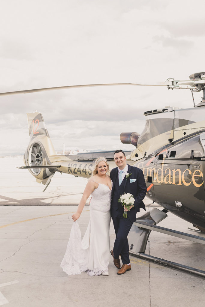 bride and groom prepare for Sundance Helicopter ride to Grand Canyon with Taylor Made Photography