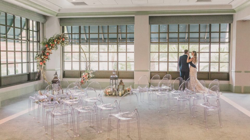 bride and groom at Park MGM Griffith Ballroom