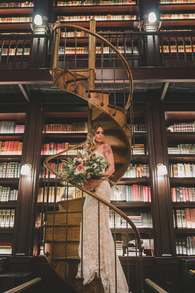 portraits in library at NoMad in Las Vegas photographed by Taylor Made Photography