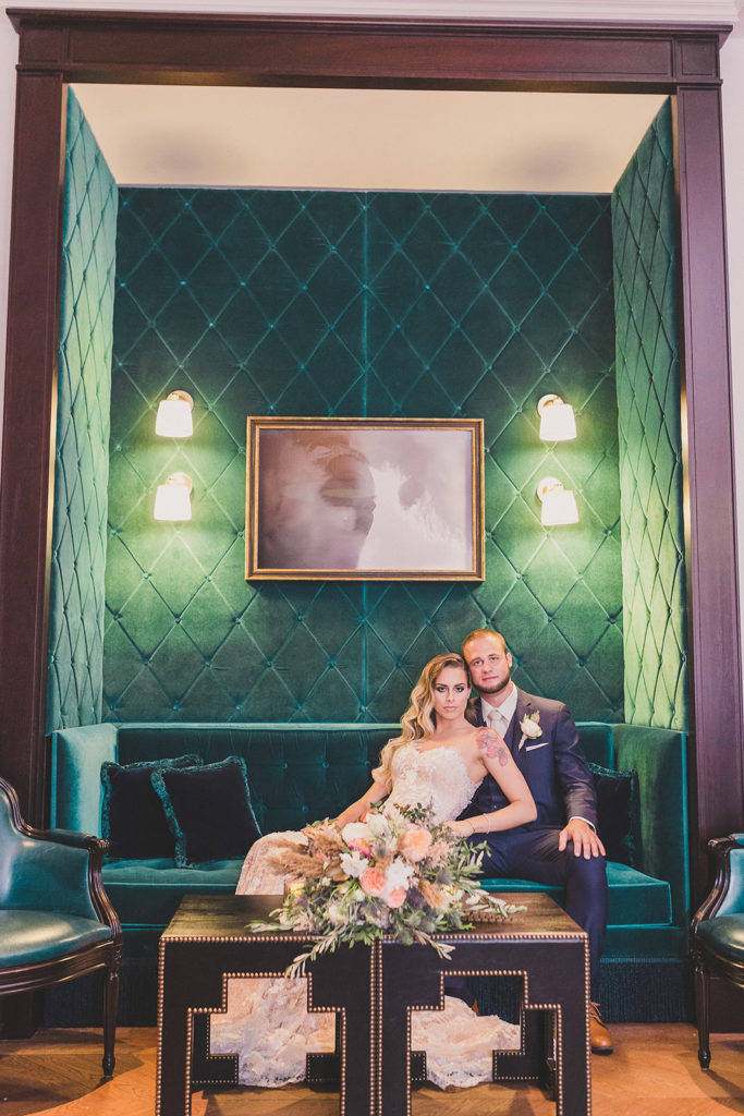 lounge portraits on wedding day at Park MGM with Taylor Made Photography