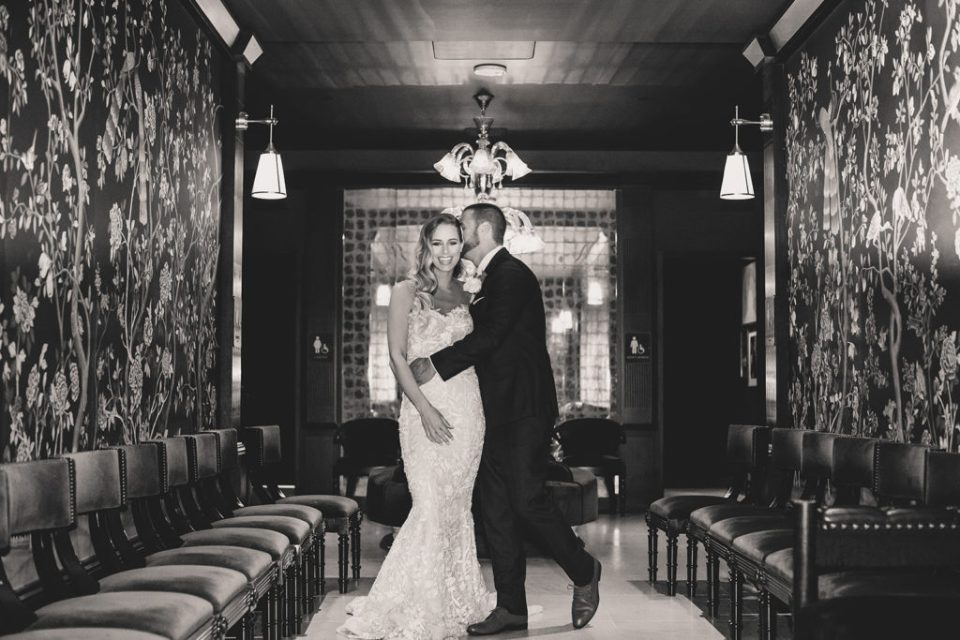 dramatic Park MGM wedding portraits in lobby by Taylor Made Photography
