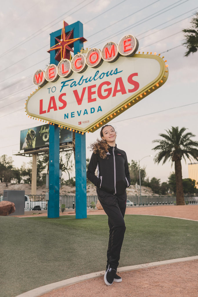 senior portraits by Las Vegas sign with Taylor Made Photography