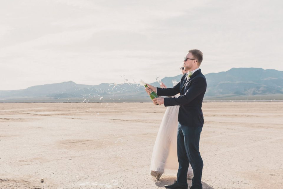 champagne celebration of Nevada elopement photographed by Taylor Made Photography