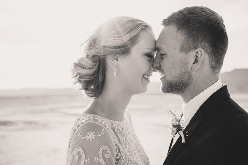black and white portrait of newlyweds in Nevada by Taylor Made Photography