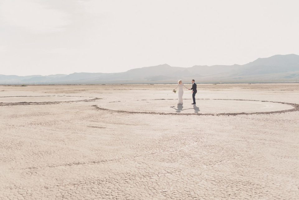 Taylor Made Photography captures bride and groom on Dry Lake Bed in Boulder City NV