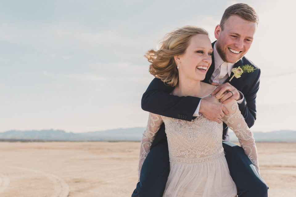 Dry Lake Bed elopement portraits with Taylor Made Photography