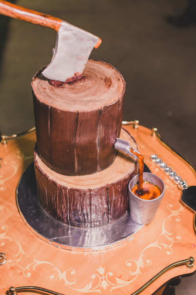 groom's cake with maple syrup decor photographed by Taylor Made Photography