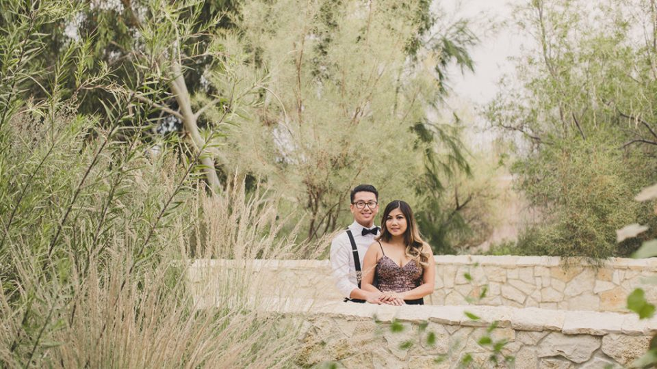 Springs Preserve engagement photos on bridge with Taylor Made Photography