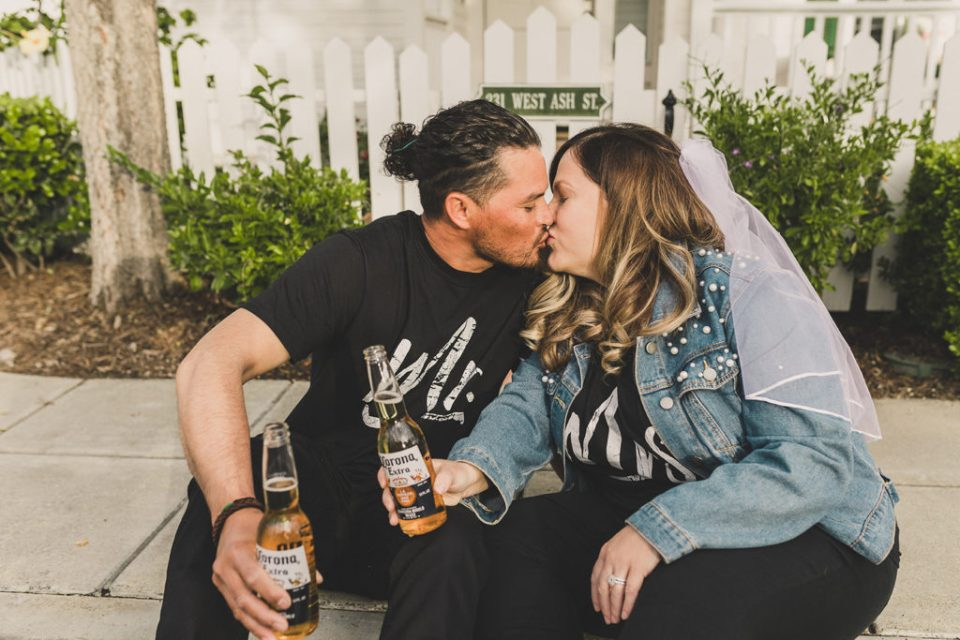 bride and groom kiss during portraits with Taylor Made Photography