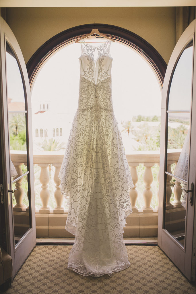 Taylor Made Photography captures bride's gown hanging in Las Vegas hotel