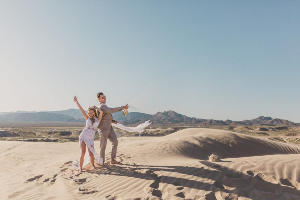 Las Vegas wedding portraits on sand dunes with Taylor Made Photography