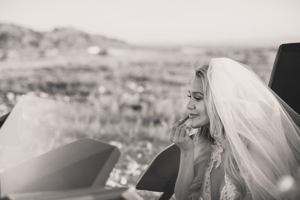 Taylor Made Photography photographs bride looking over Las Vegas