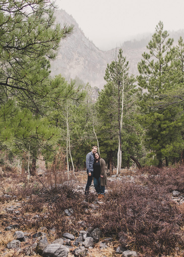 engagement portraits in the woods of Mt. Charleston by Taylor Made Photography