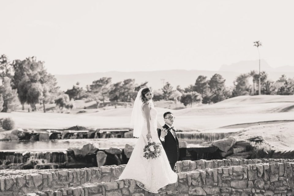 romantic wedding portraits on Canyon Gate Country Club grounds with Taylor Made Photography