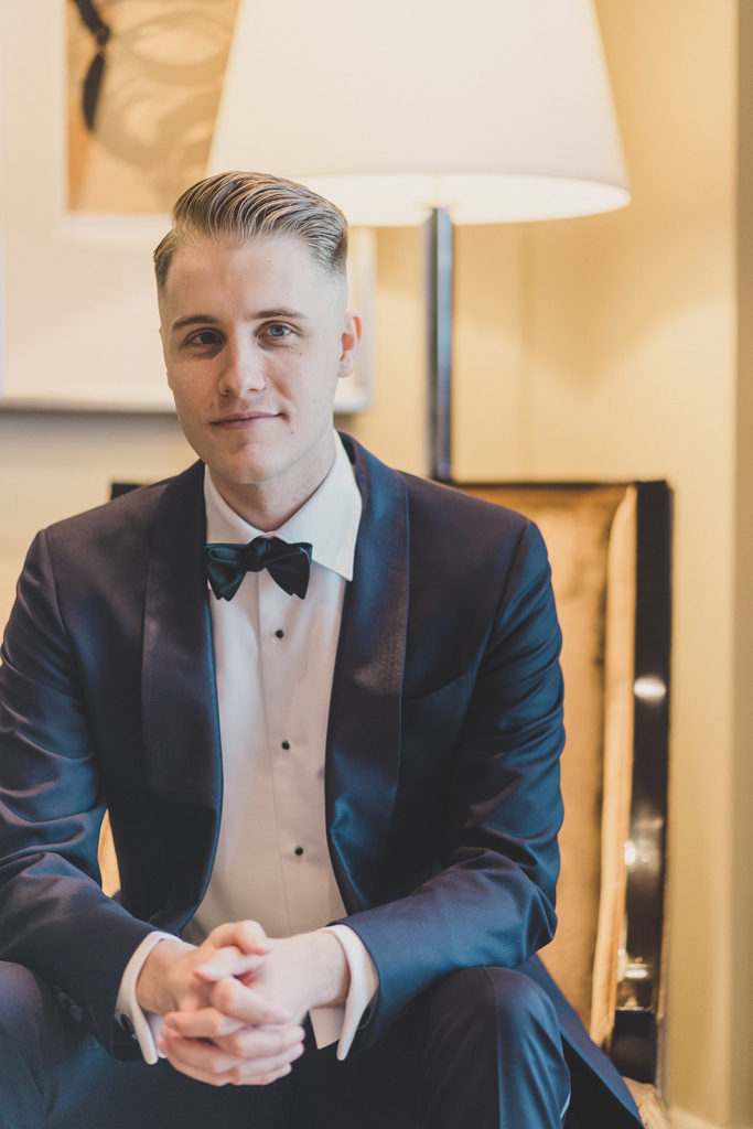 classic groom's portrait in Las Vegas hotel with Taylor Made Photography