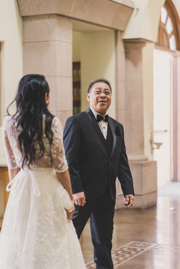 bride and father's first look in Las Vegas with Taylor Made Photography