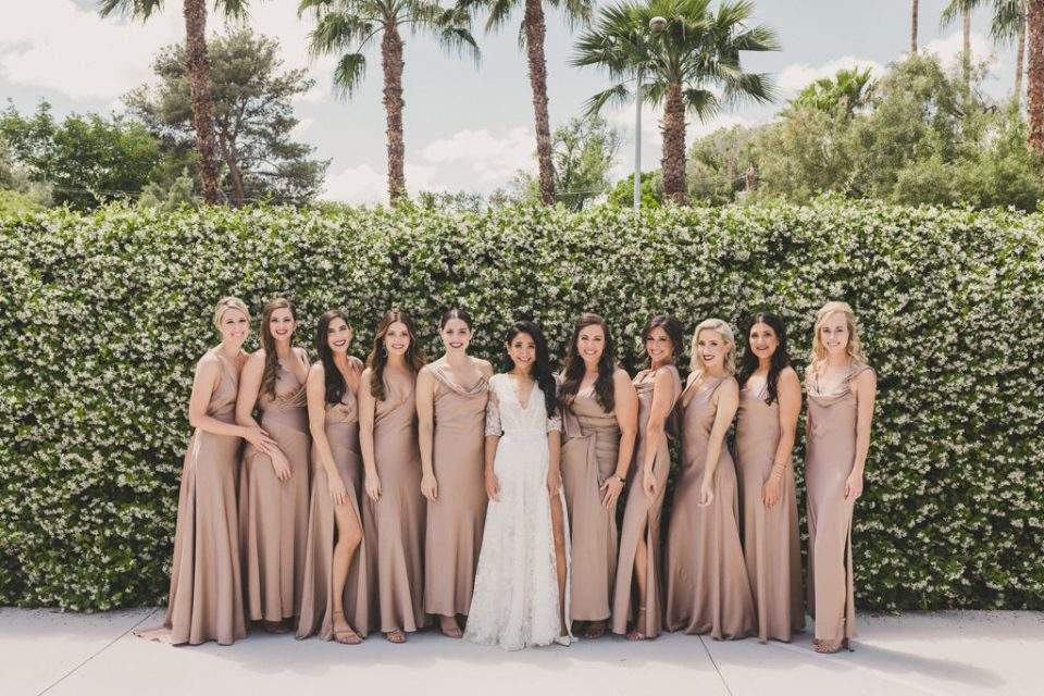 Taylor Made Photography photographs bridesmaids in dusty rose with bride