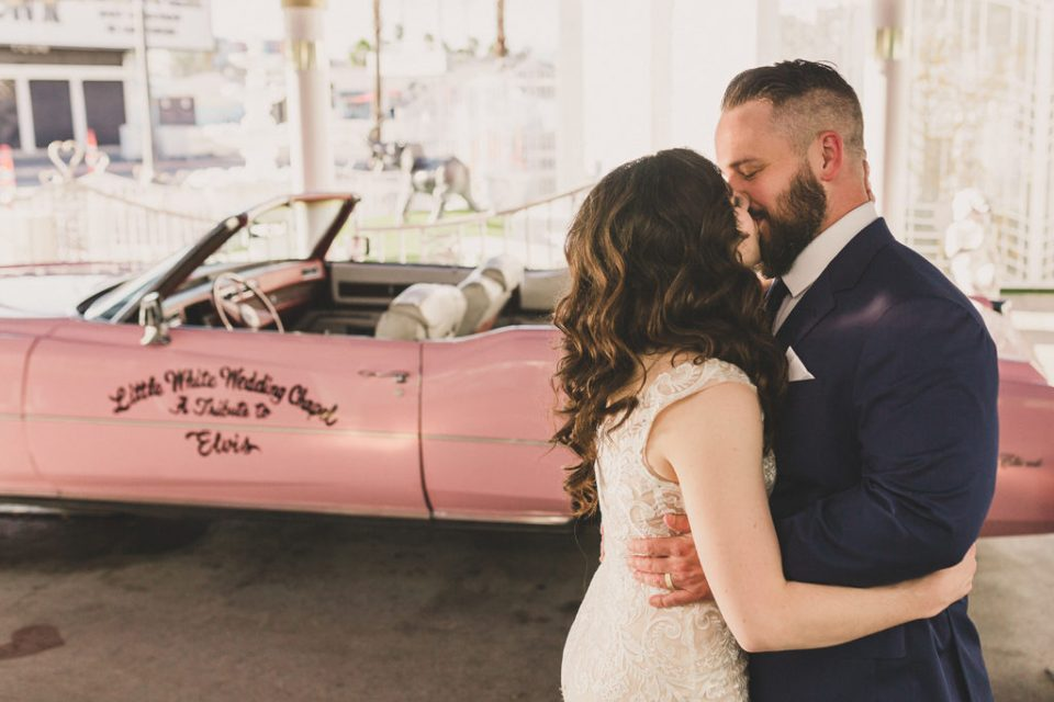 Taylor Made Photography captures Las Vegas elopement near pink Cadillac