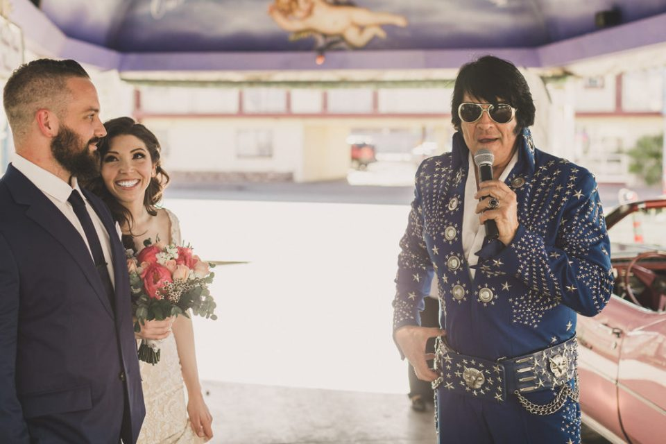 newlyweds laugh while Elvis sings photographed by Taylor Made Photography
