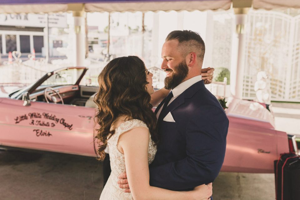 couple laughs during downtown Las Vegas elopement photographed by Taylor Made Photography