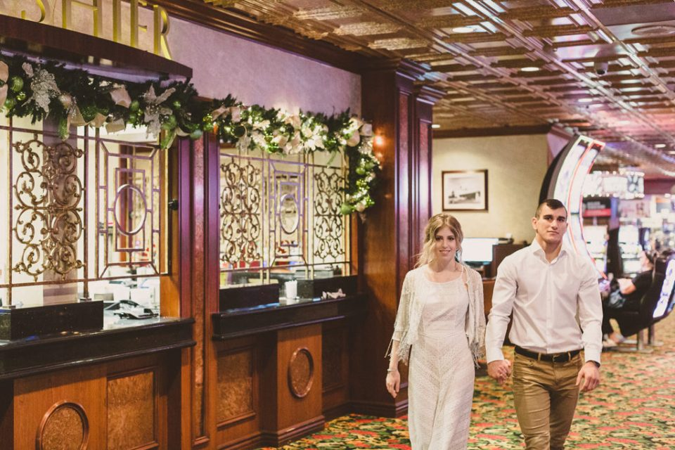 Taylor Made Photography photographs Las Vegas casino during engagement portraits