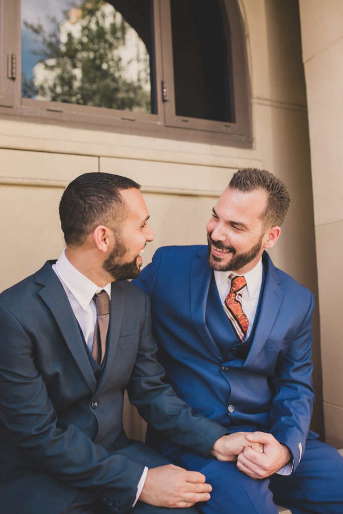 grooms celebrate elopement in Las Vegas with Taylor Made Photography