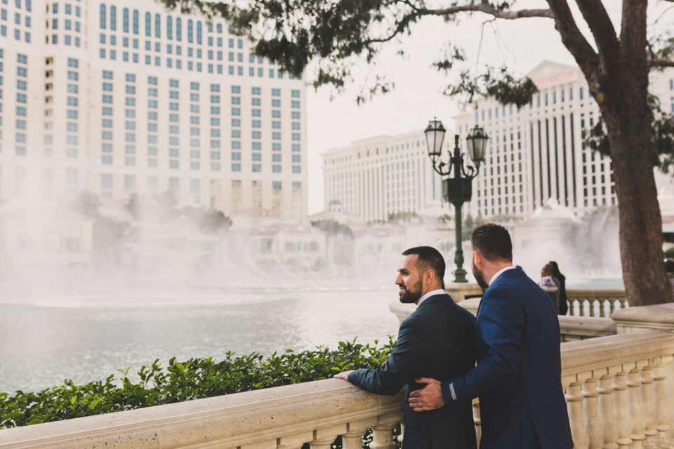 Bellagio Fountain elopement portraits with Taylor Made Photography