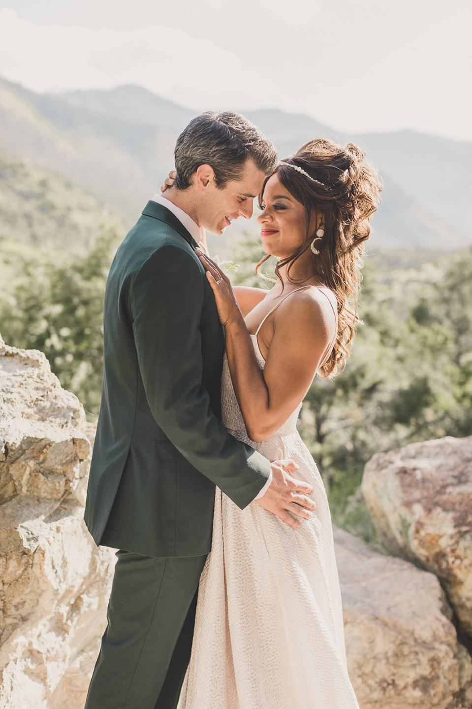 romantic wedding portraits in mountains of Mt Charleston photographed by Taylor Made Photography