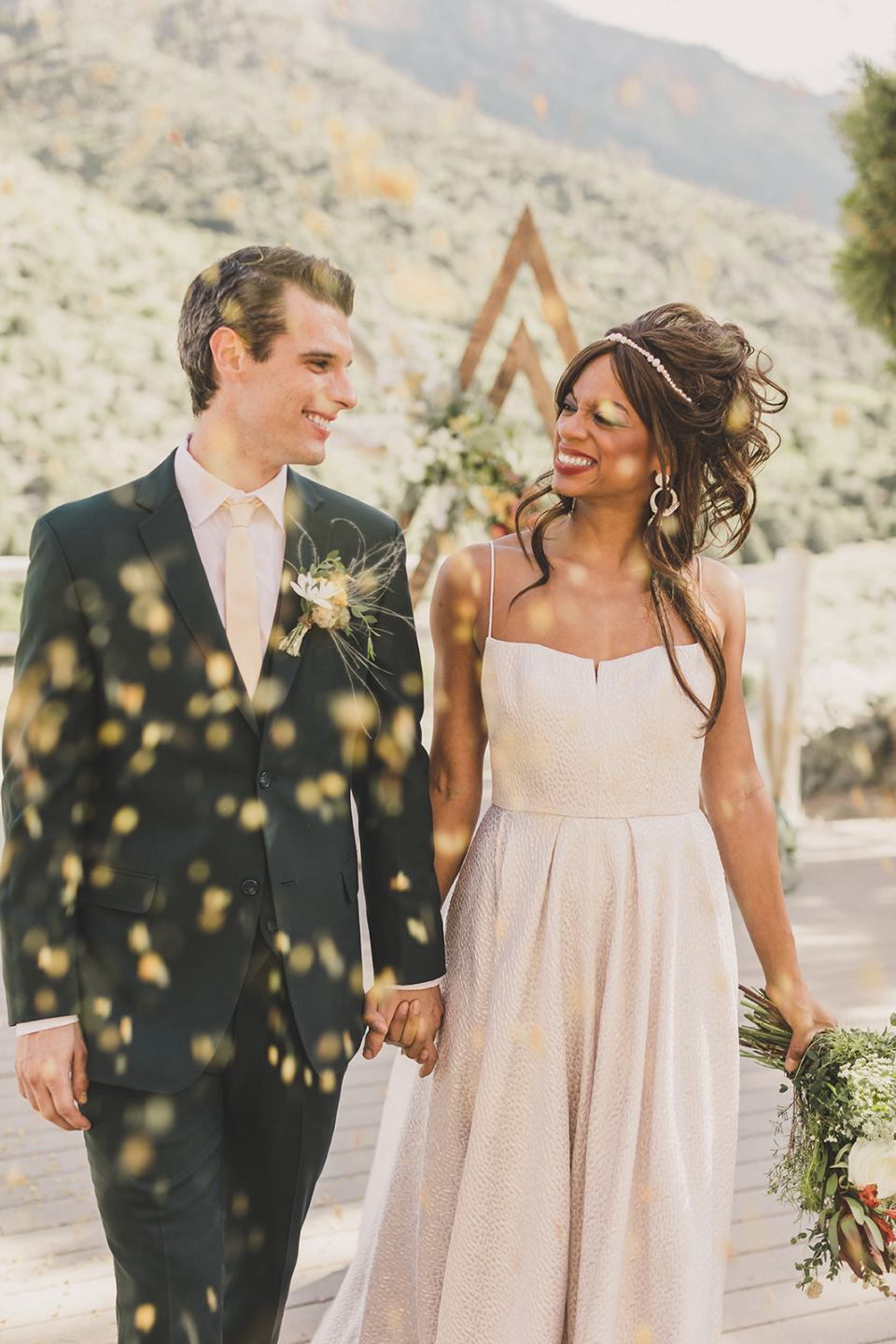 confetti overlay with newlyweds at Mt Charleston photographed by Taylor Made Photography