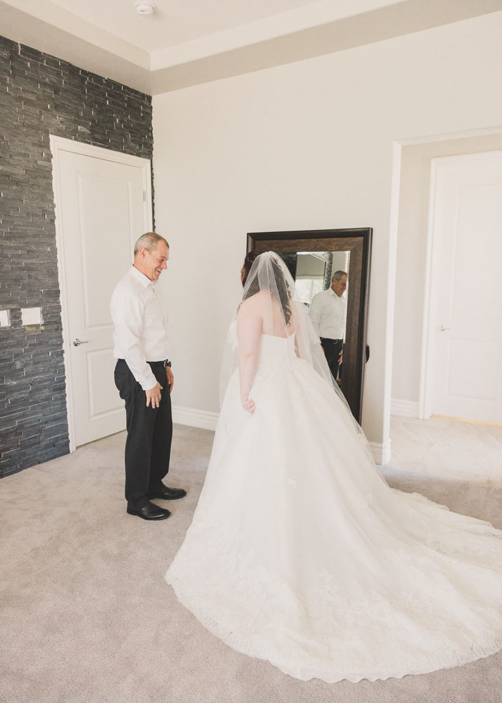 bride's first look with father photographed by Taylor Made Photography