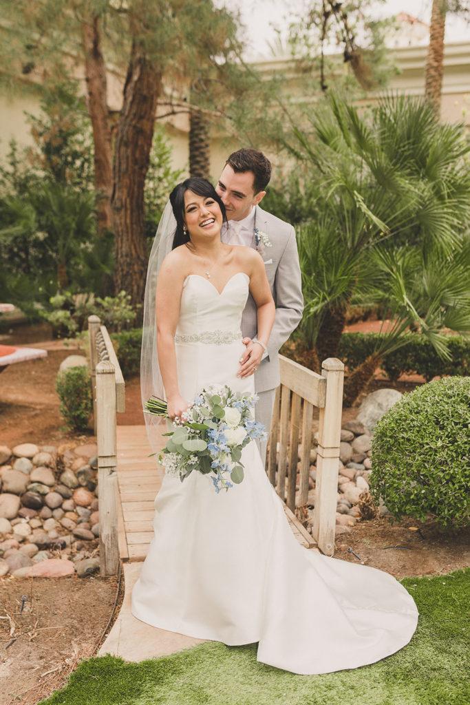 JW Marriott Las Vegas wedding portraits on bridge