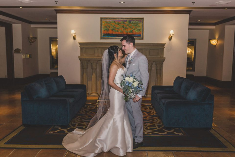 JW Marriott Las Vegas wedding portraits in lobby