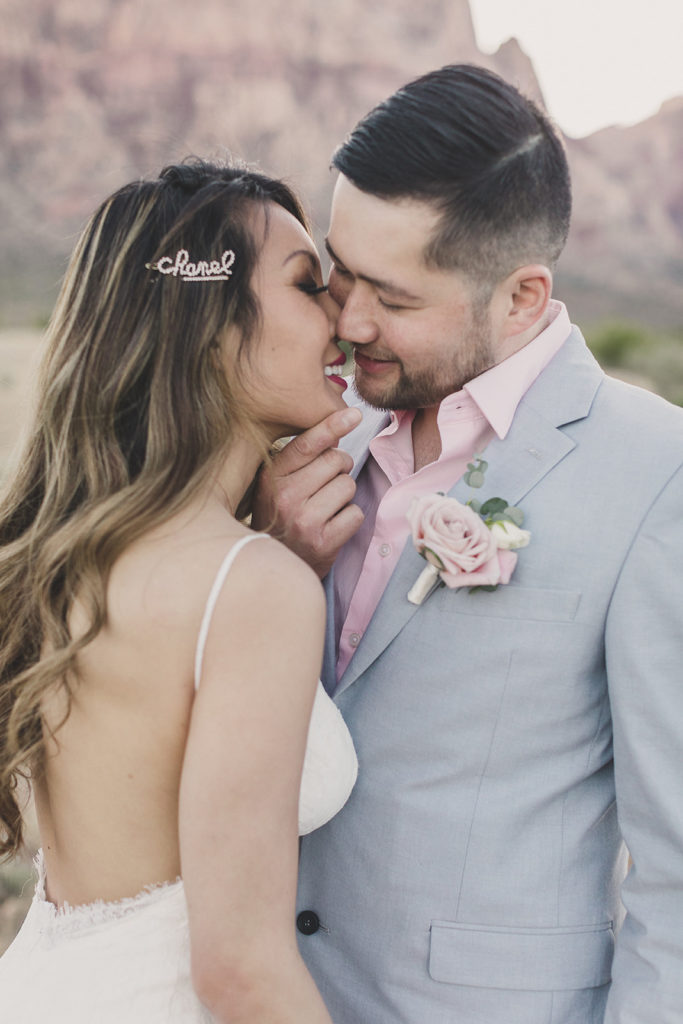 bride and groom pause before kissing during wedding portraits with Taylor Made Photography
