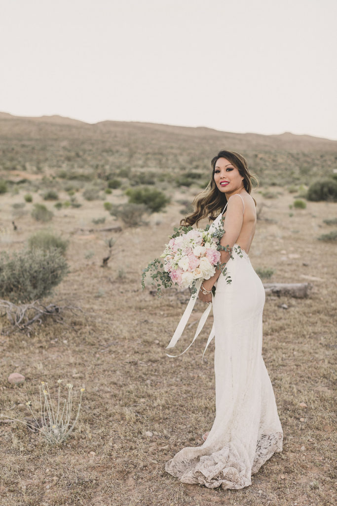 Las Vegas bride smiles at Taylor Made Photography