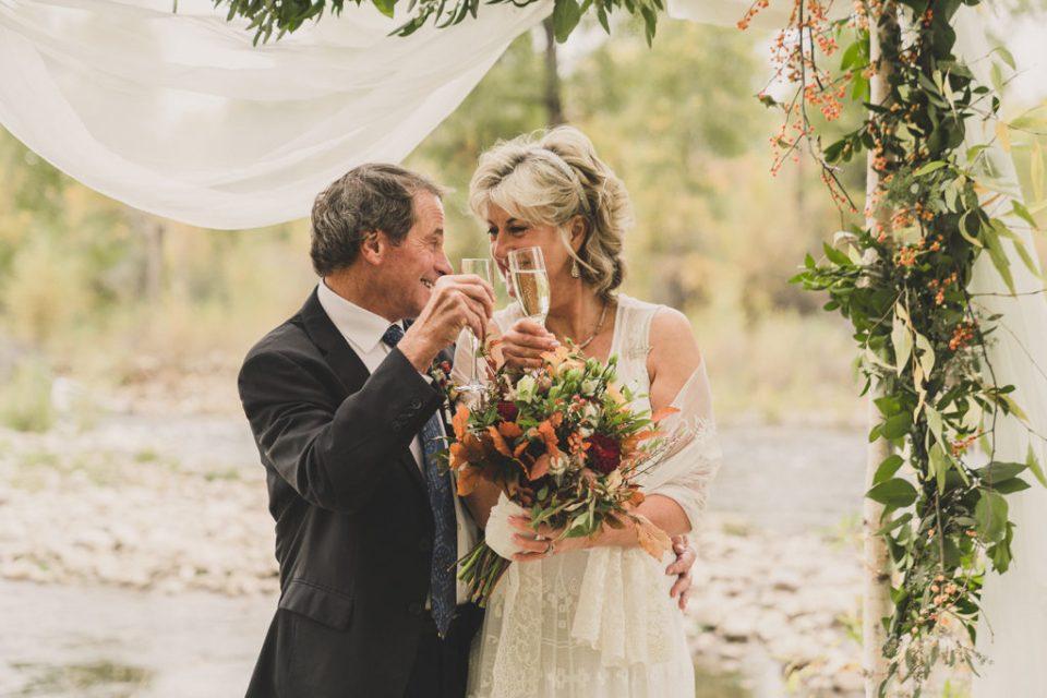 Heber City bride and groom toast wedding day