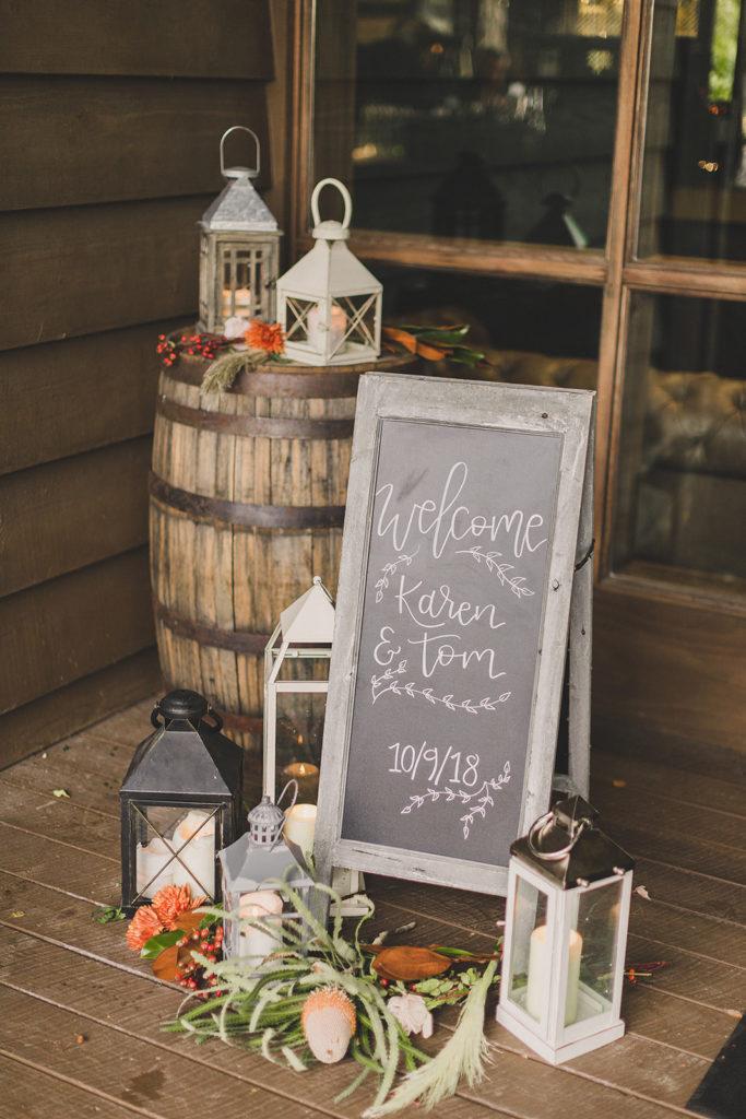 rustic fall wedding reception details