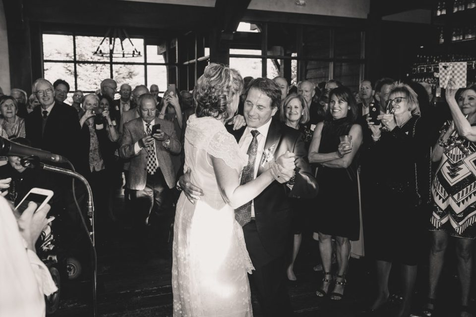 bride and groom dance during Freestone Lodge wedding reception