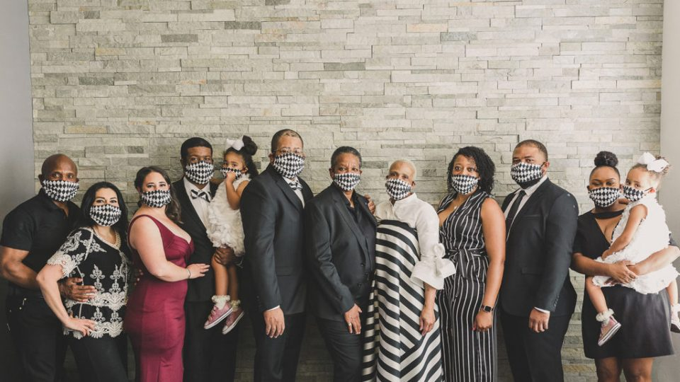 family portraits with masks after 30 year vow renewal in Las Vegas photographed by Taylor Made Photography