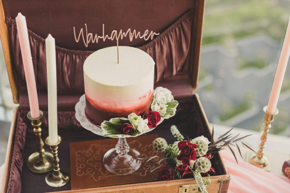 cake with wooden topper by Caked Las Vegas