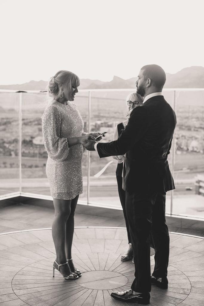bride and groom exchange vows during Red Rock Resort Elopement