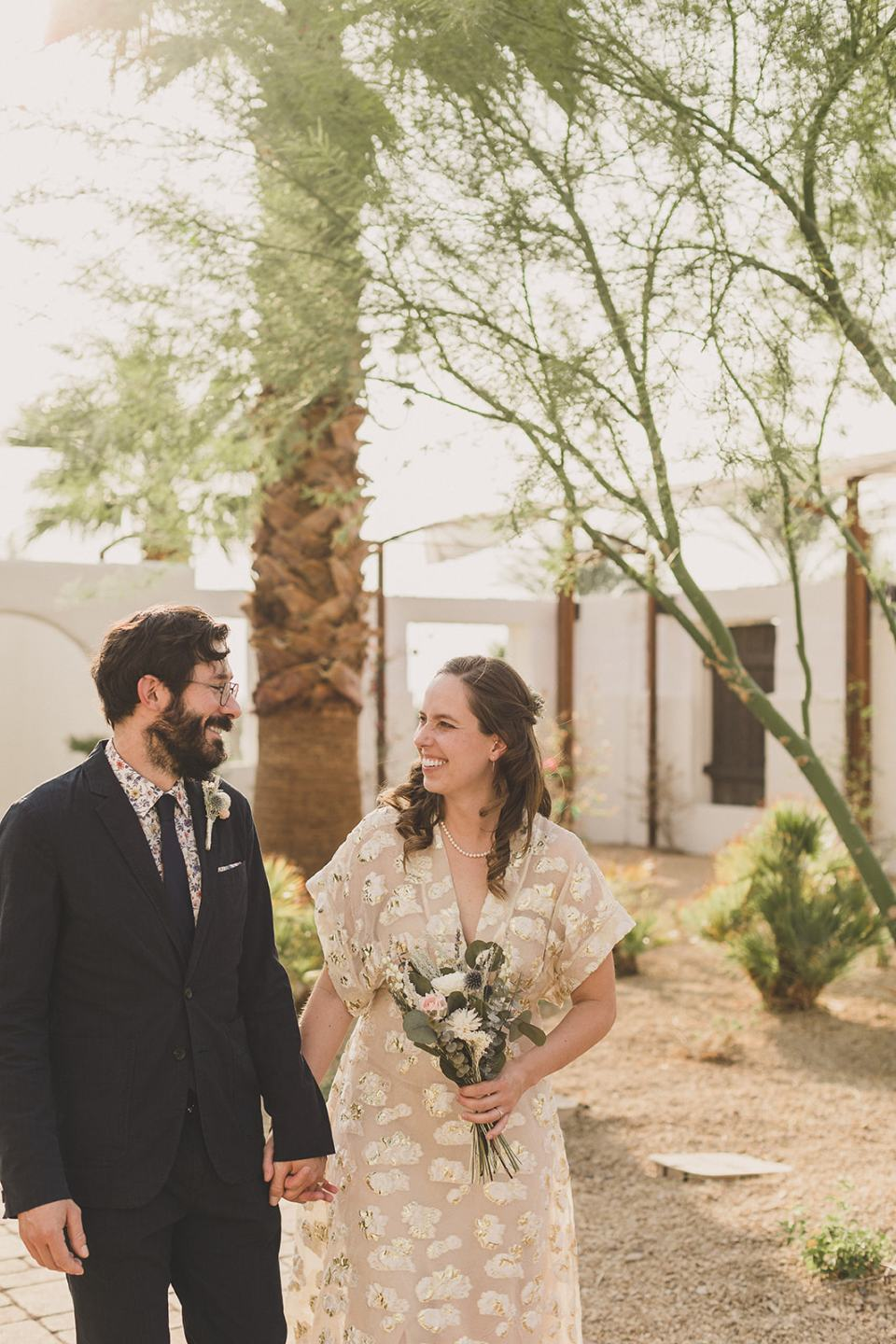 bride laughs with groom during Death Valley elopement
