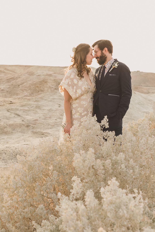 bride and groom pose behind bush at Zabriskie Point